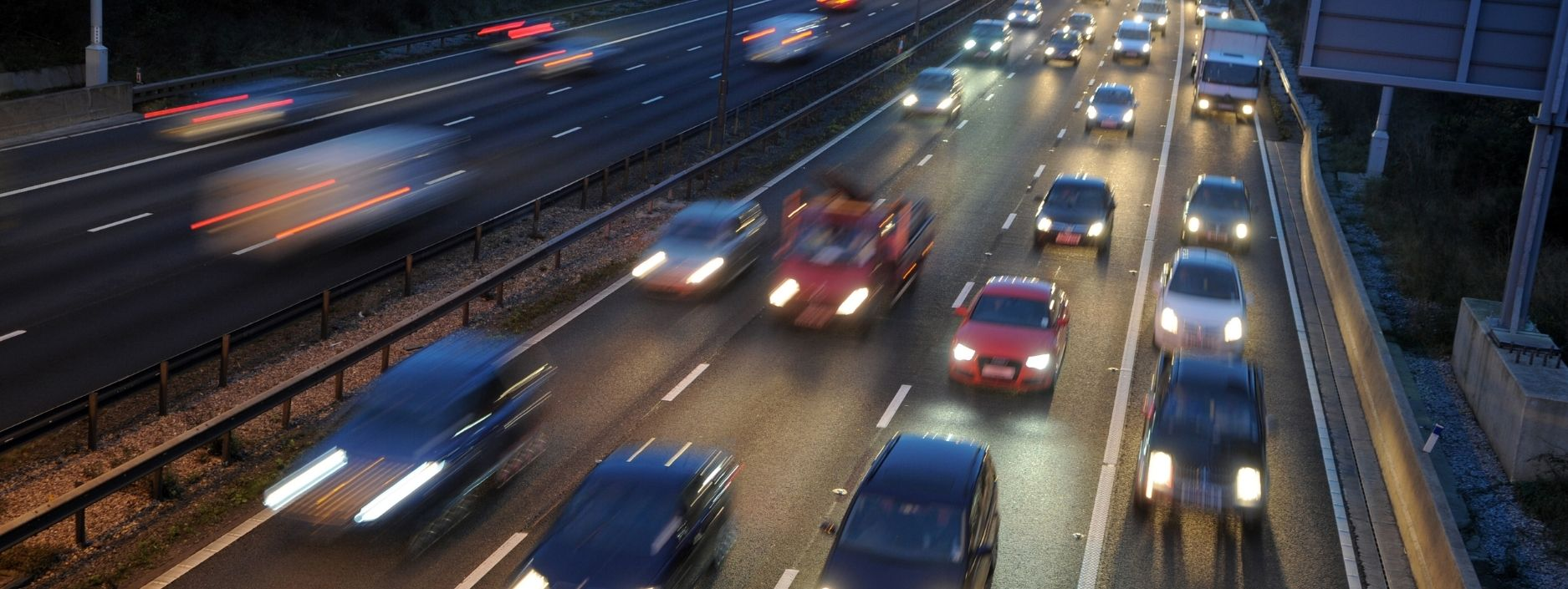 Cars driving at night