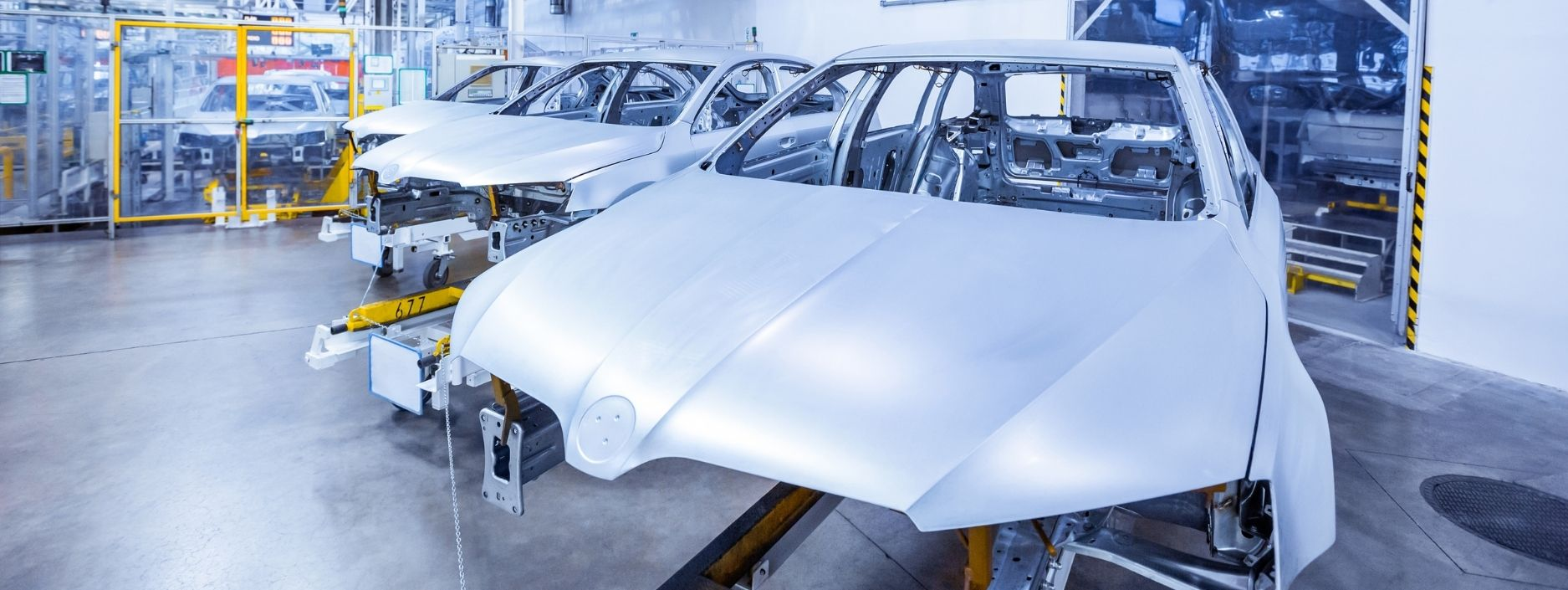 Silver car in production