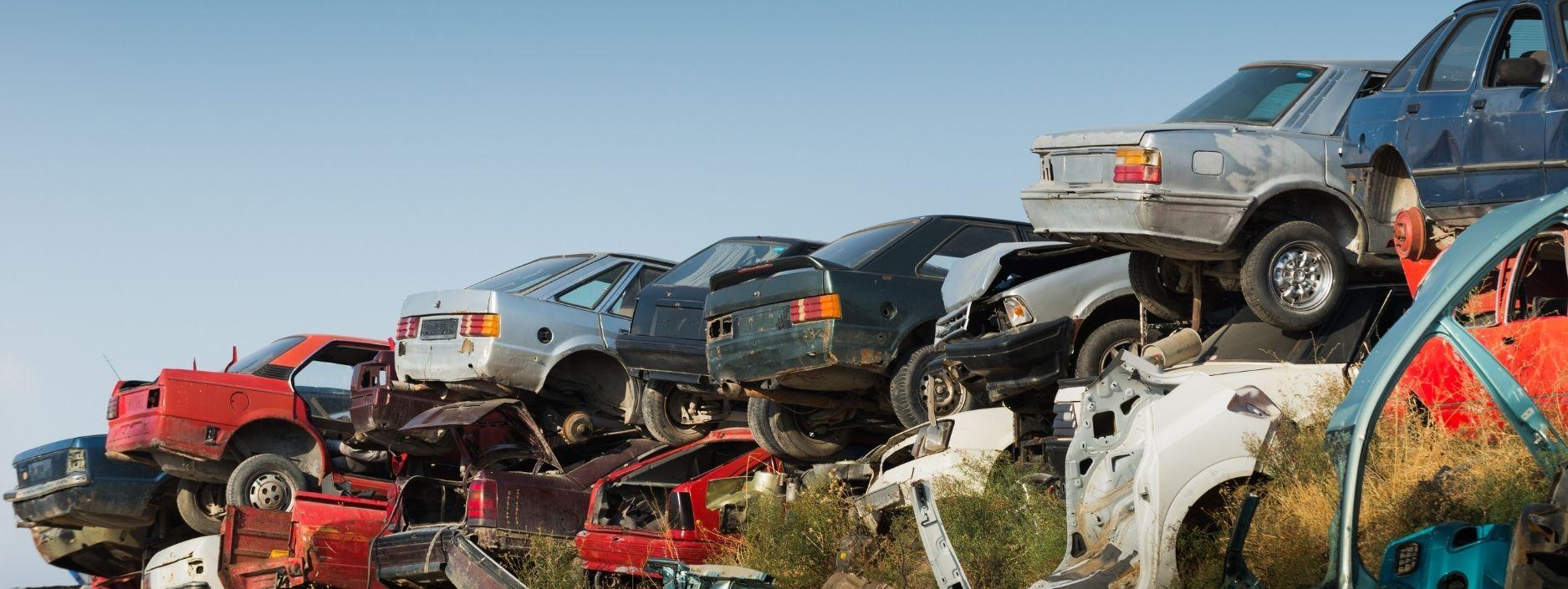Scrap cars piled