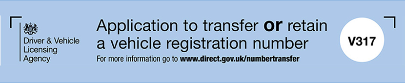 Application to transfer or retain a vehicle registration number