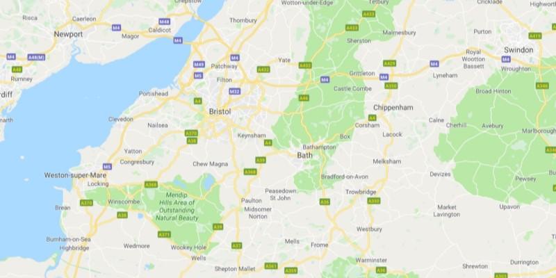 Map of Bristol Scrap Car Collection Areas