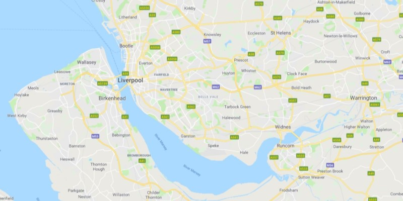 Map of Liverpool Scrap Car Collection Areas