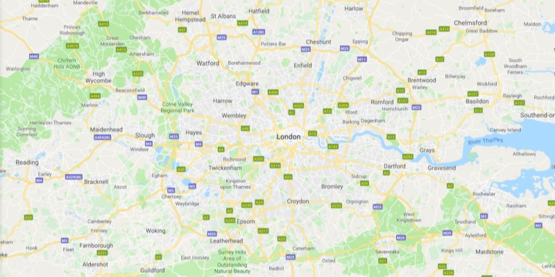 Map of London Scrap Car Collection Areas