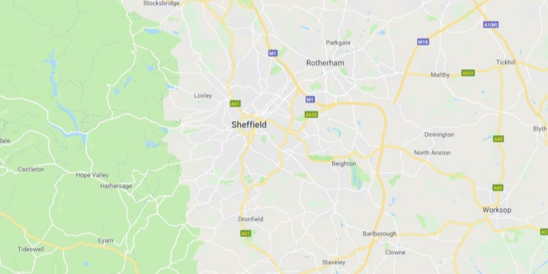 Map of Sheffield Scrap Car Collection Areas