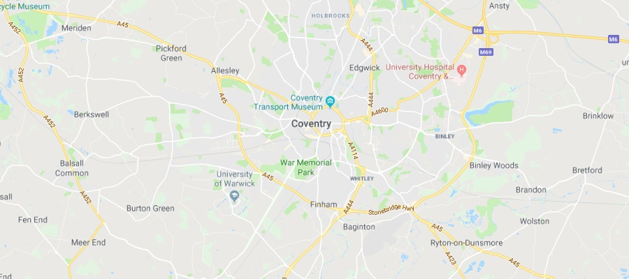 Map of Coventry Scrap Car Collection Areas