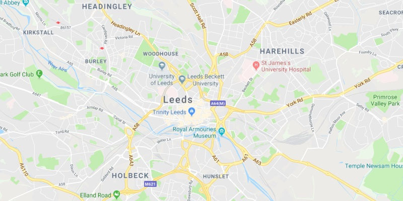 Map of Leeds Scrap Car Collection Areas