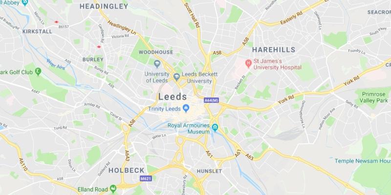 Map of Leeds Scrap Car Collection Areas