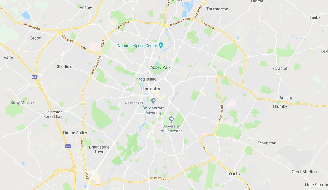 Map of Leicester Scrap Car Collection Areas