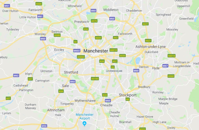 Map of Manchester Scrap Car Collection Areas