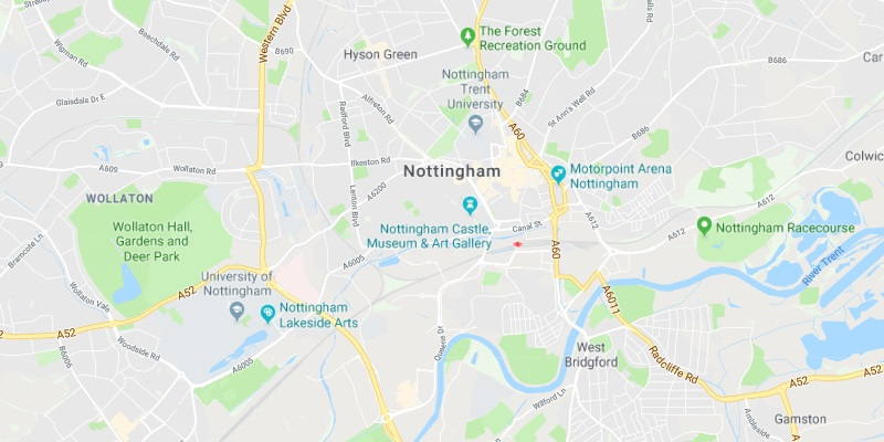 Map of Nottingham Scrap Car Collection Areas
