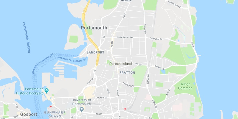 Map of Portsmouth Scrap Car Collection Areas