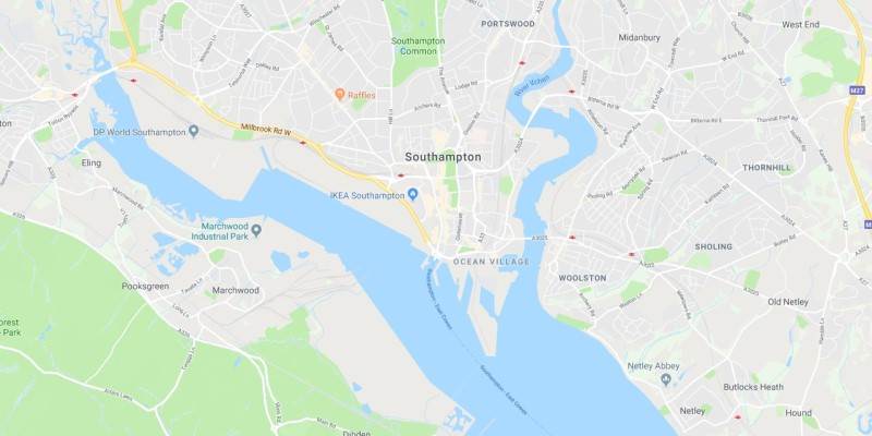Map of Southampton Scrap Car Collection Areas