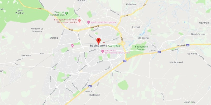Map of Basingstoke Scrap Car Collection Areas