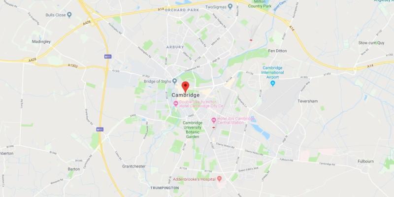 Map of Cambridge Scrap Car Collection Areas