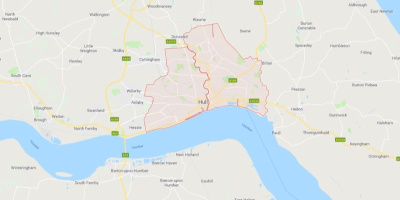 Map of Hull Scrap Car Collection Areas