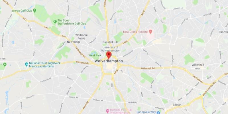 Map of Wolverhampton Scrap Car Collection Areas