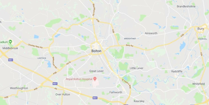 Map of Bolton Scrap Car Collection Areas