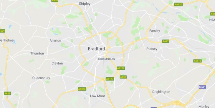 Map of Bradford Scrap Car Collection Areas