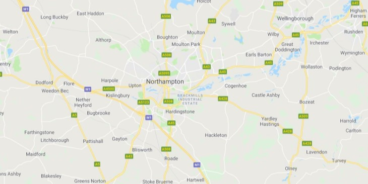Map of Northampton Scrap Car Collection Areas