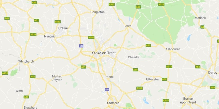 Map of Stoke-on-Trent Scrap Car Collection Areas