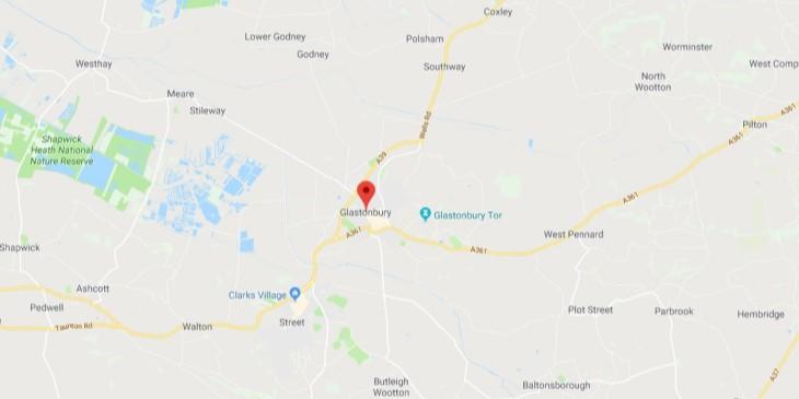 Map of Glastonbury Scrap Car Collection Areas