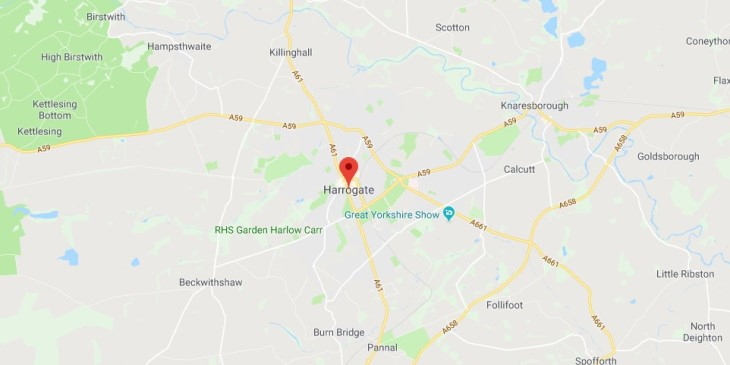 Map of Harrogate Scrap Car Collection Areas