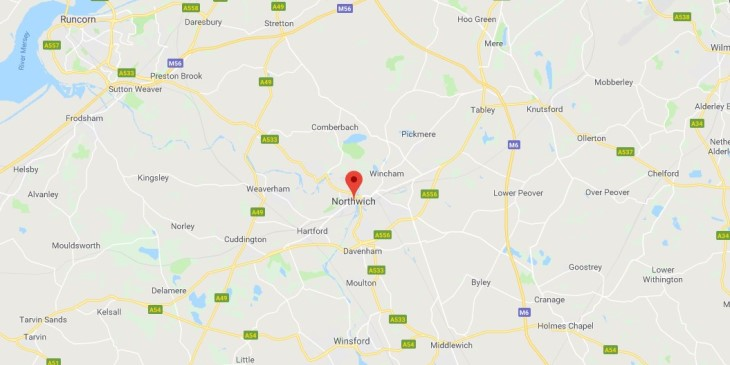 Map of Northwich Scrap Car Collection Areas