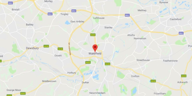 Map of Wakefield Scrap Car Collection Areas