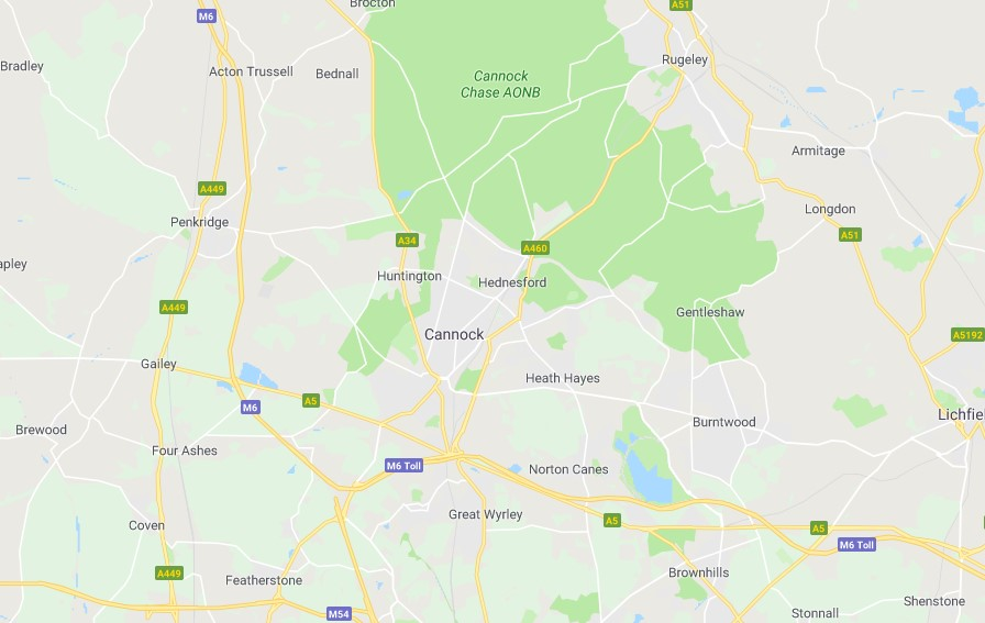 Map of Staffordshire Scrap Car Collection Areas