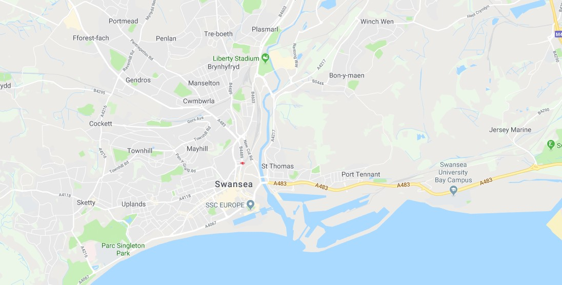 Map of Swansea Scrap Car Collection Areas