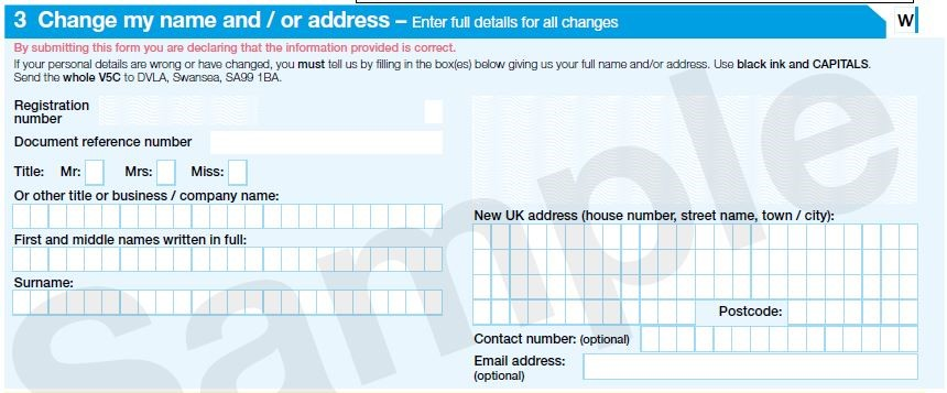 V5C change my name and / or address section