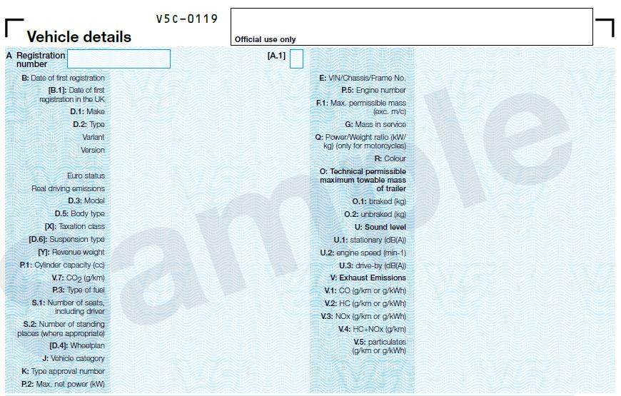 V5C Vehicle details section
