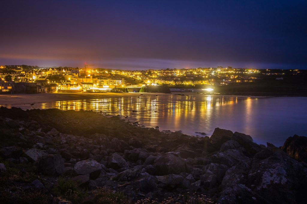 Romantic St Ives lit up at night