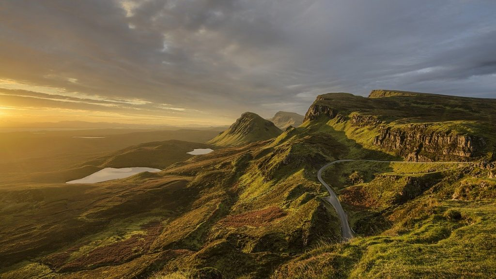 Road winding through Scottish Highlands