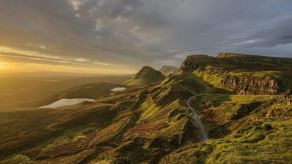 Road winding through Scottish Highlands