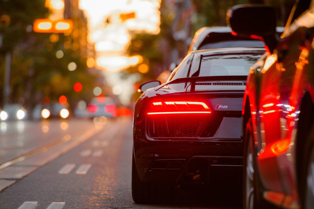 Supercars in traffic