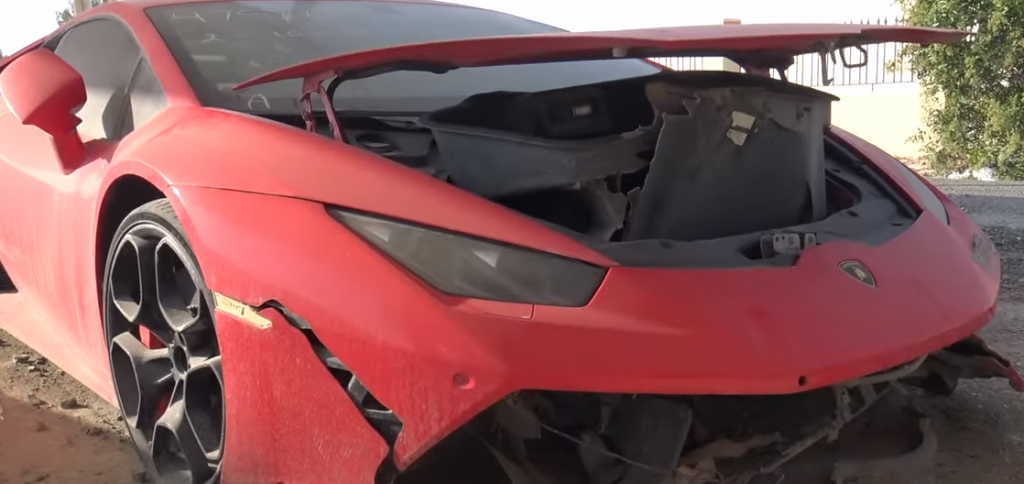 Lambourghini Huracan in Dubai scrap yard