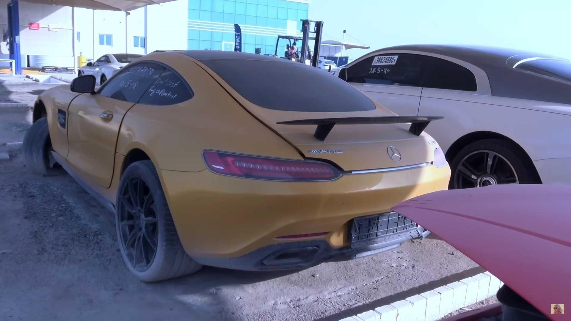 Mercedes GTS in Dubai scrap yard