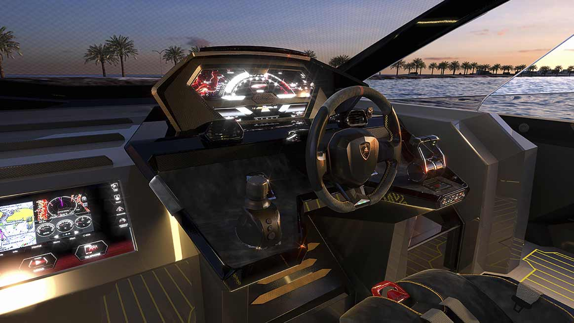 Interior of the Tecnomar Lamborghini 63 superyacht