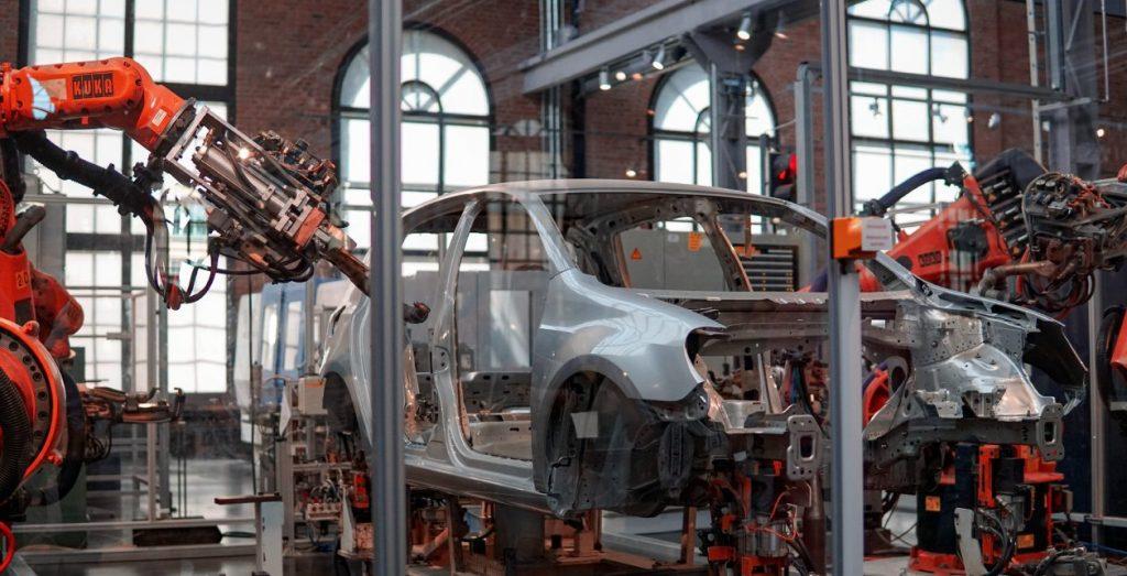 A car in a factory