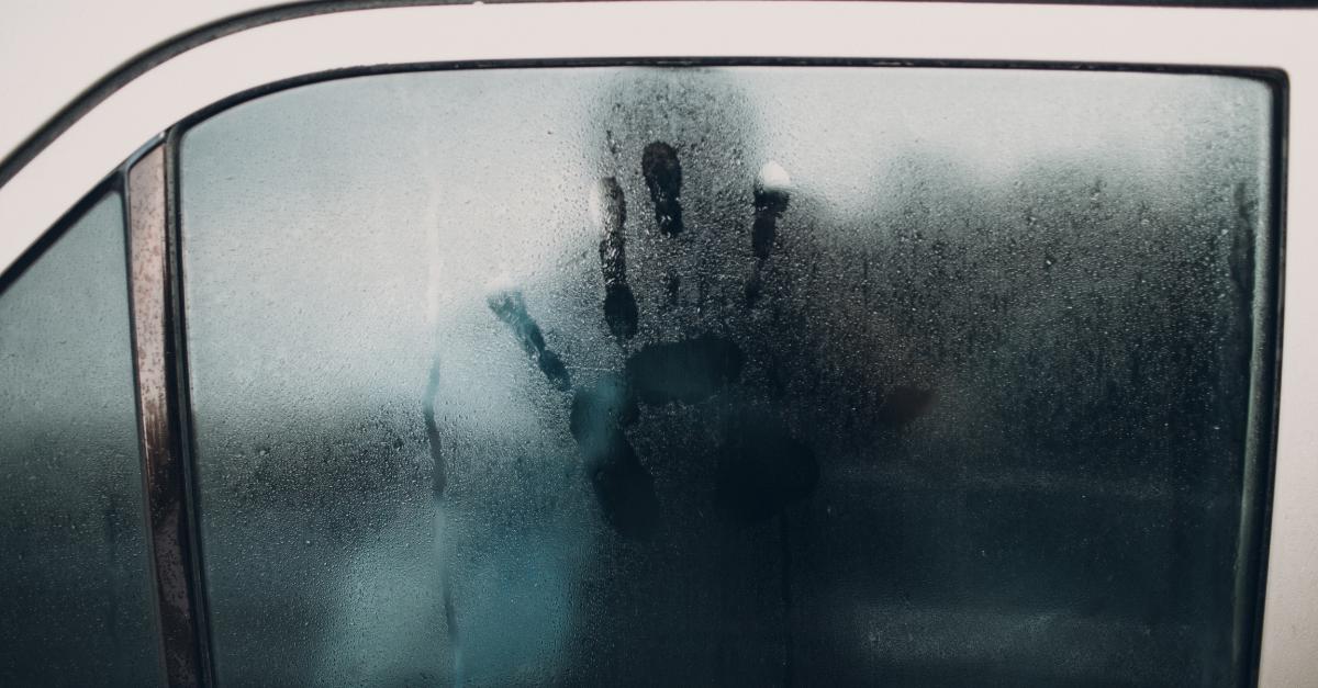 Hand print on car window